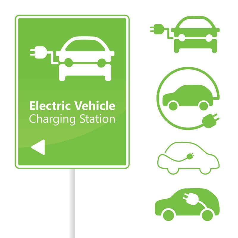 Símbols carrega cotxe elèctric